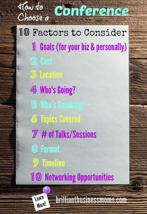 How to choose a conference as a busy mom entrepreneur crafter maker or blogger a pinterest chart