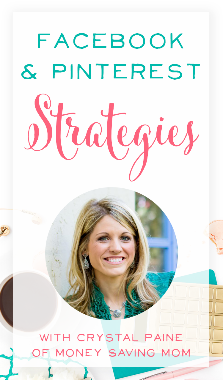 Such a great podcast interview with Crystal Paine of MoneySavingMom.com! She shares her Facebook strategy and Pinterest marketing strategy she's using to increase her traffic, get more engagement, and the top 3 ways she's grown her blog.