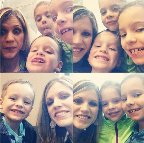 Crystal Paine of MoneySavingMom taking silly selfies with her kids. Crystal shares tons of great advice for blogging and online moms on the brilliant business moms podcast.