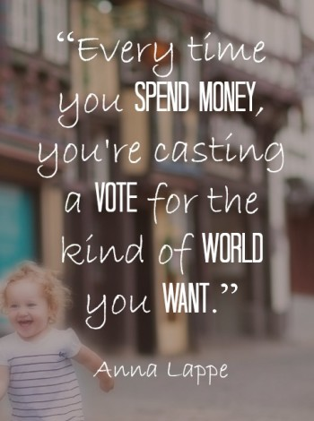 """Every time you spend money, you're casting a vote for the kind of world you want."" ~ Anna Lappe. Let's support small business and shop small this year."