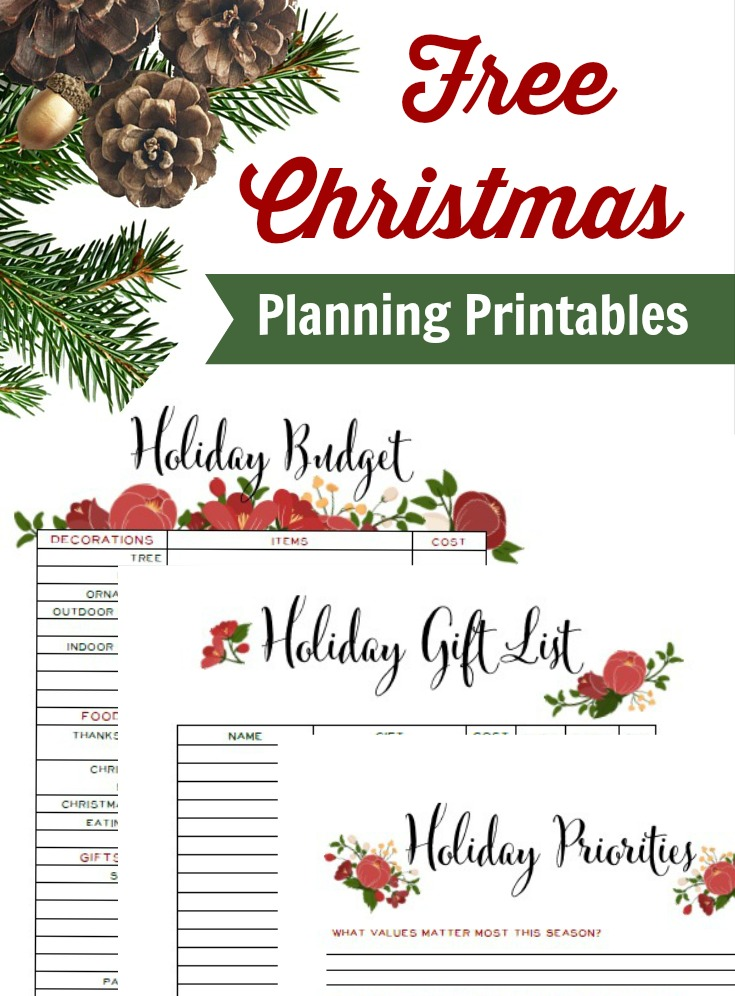 Free Christmas Planning Printables: Budget Tracker, Priorities for December, and Gift List