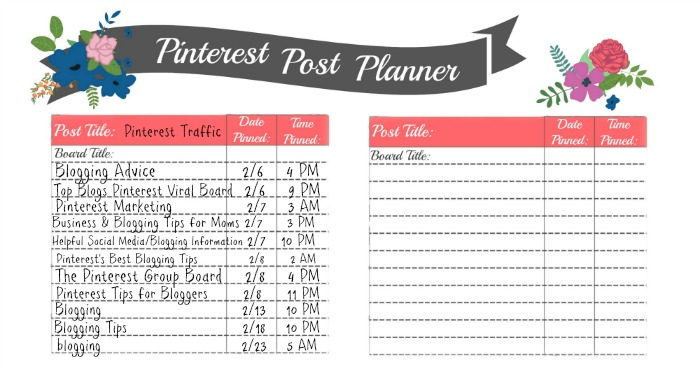 Pinterest Post Planner - free printable for blogging moms or mompreneurs