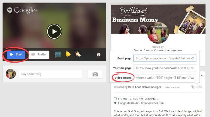 How to Embed a Hangout on Air on Your Own Site | brilliantbusinessmoms.com