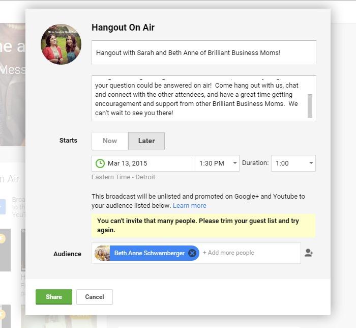 How to Schedule a Google Hangout on Air | brilliantbusinessmoms.com
