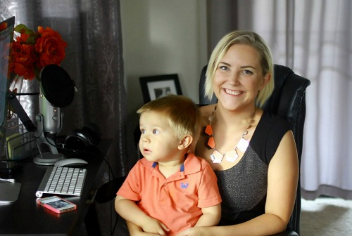 Work-at-Home Mom Kaye Putnam in her home office with her son, Afton.  Learn all about branding for your business!  |  brilliantbusinessmoms.com