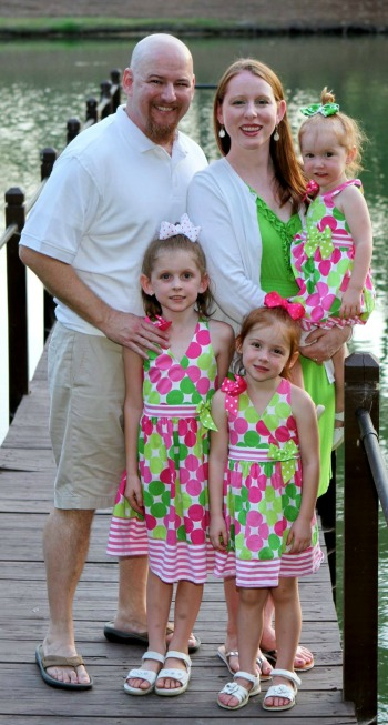 Erin Odom with her husband and their three girls.
