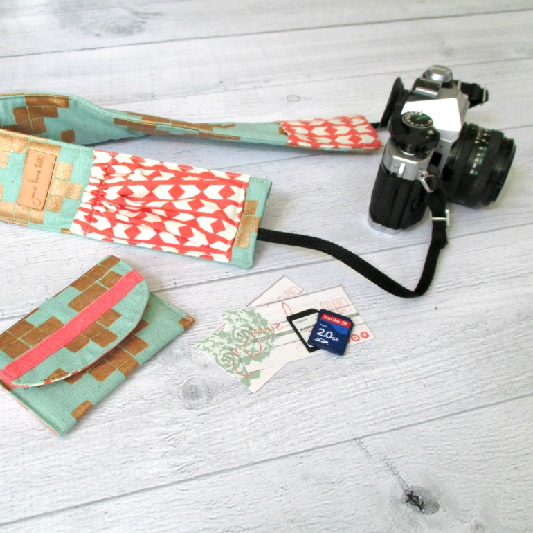 Padded Designer Camera Strap Cover with Pockets and Matching Memory Card Case