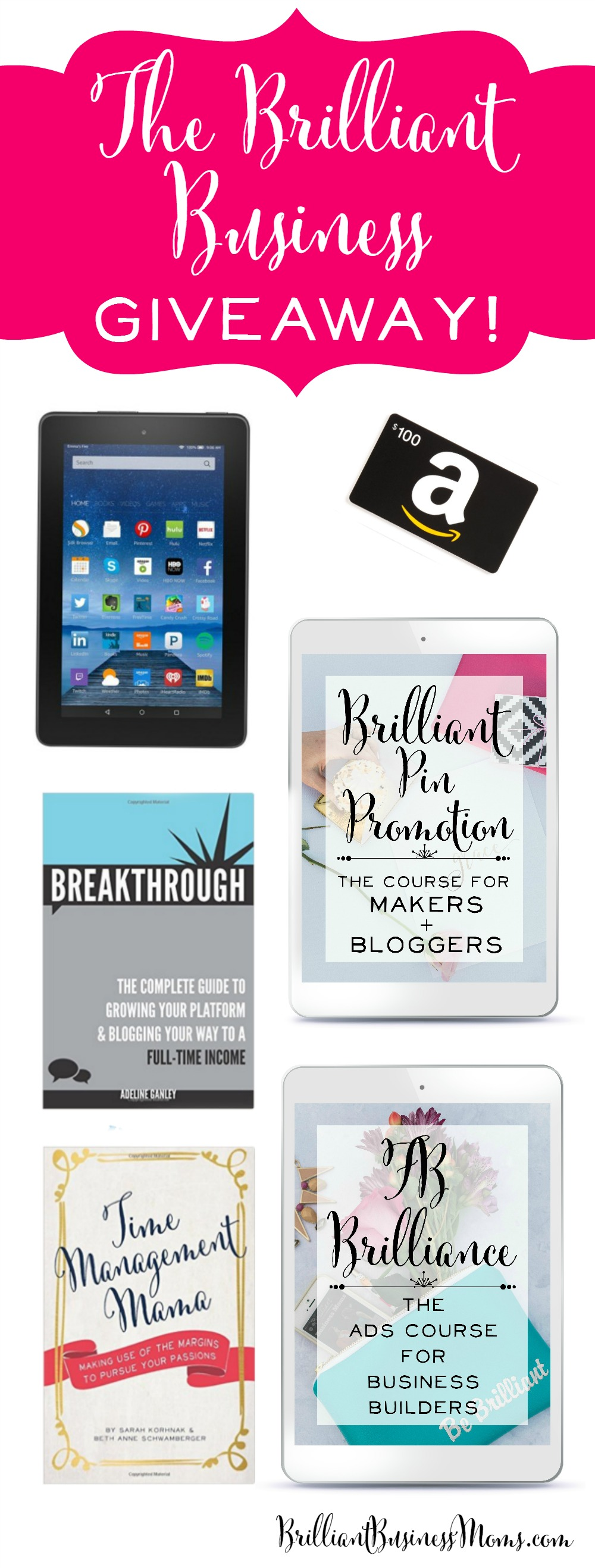 Oh my goodness! Such amazing prizes - super excited about the pinterest course and Facebook ads course. | brilliantbusinessmoms.com