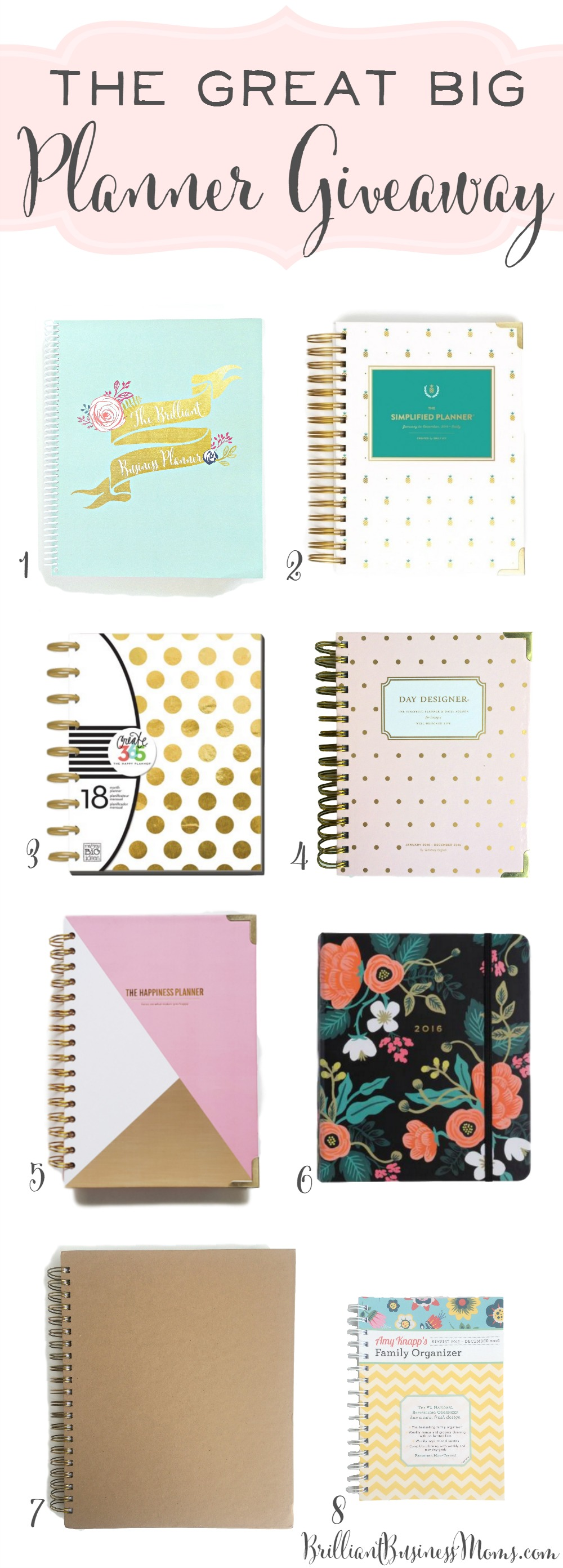 Can't even believe this! 8 amazing 2016 planners! Emily Ley Simplified Planner, Whitney English Day Designer Mini, The Happiness Planner, The Brilliant Business Planner, Rifle Paper Co. Planner, The Living Well Planner, and Amy Knapp's Planner. So many awesome planners to love.