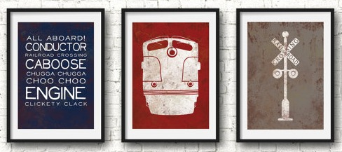 Katy's Adorable Vintage Train Print Set