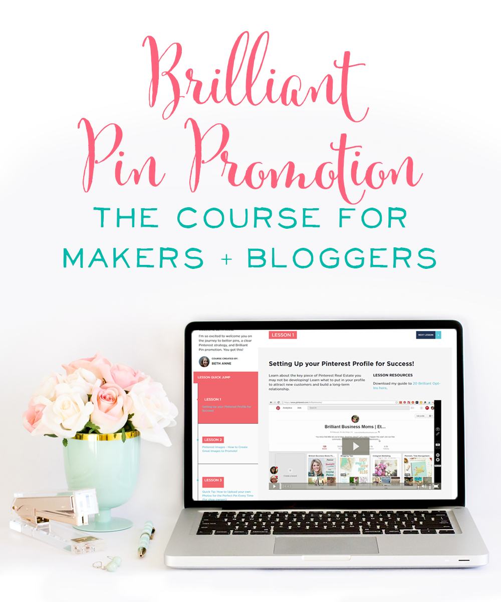 Brilliant Pin Promotion is a comprehensive, self-paced course with over 19 video trainings. Learn the exact strategies I've used to grow my organic traffic and following on Pinterest, as well as how I scale my business even more using Promoted Pins.