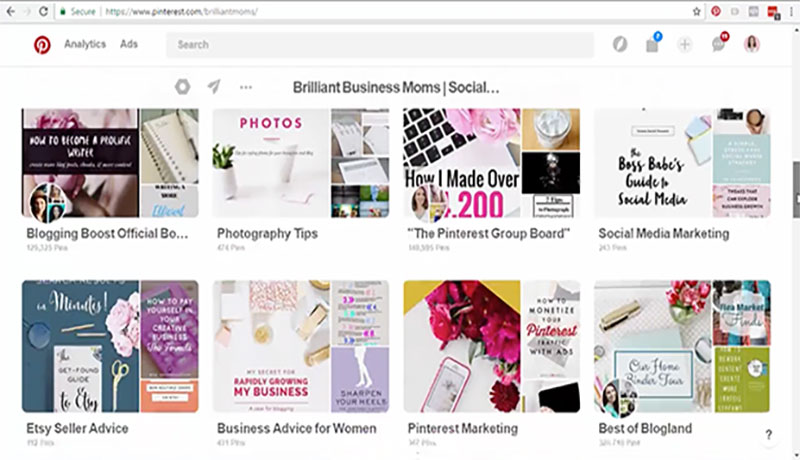 What our Pinterest account looked like before we made custom board covers
