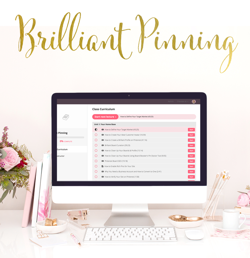 Brilliant Pinning is a comprehensive, self-paced course with over 46 video trainings. Learn the exact strategies I've used to grow my organic traffic and following on Pinterest, as well as how I scale my business even more using Promoted Pins.