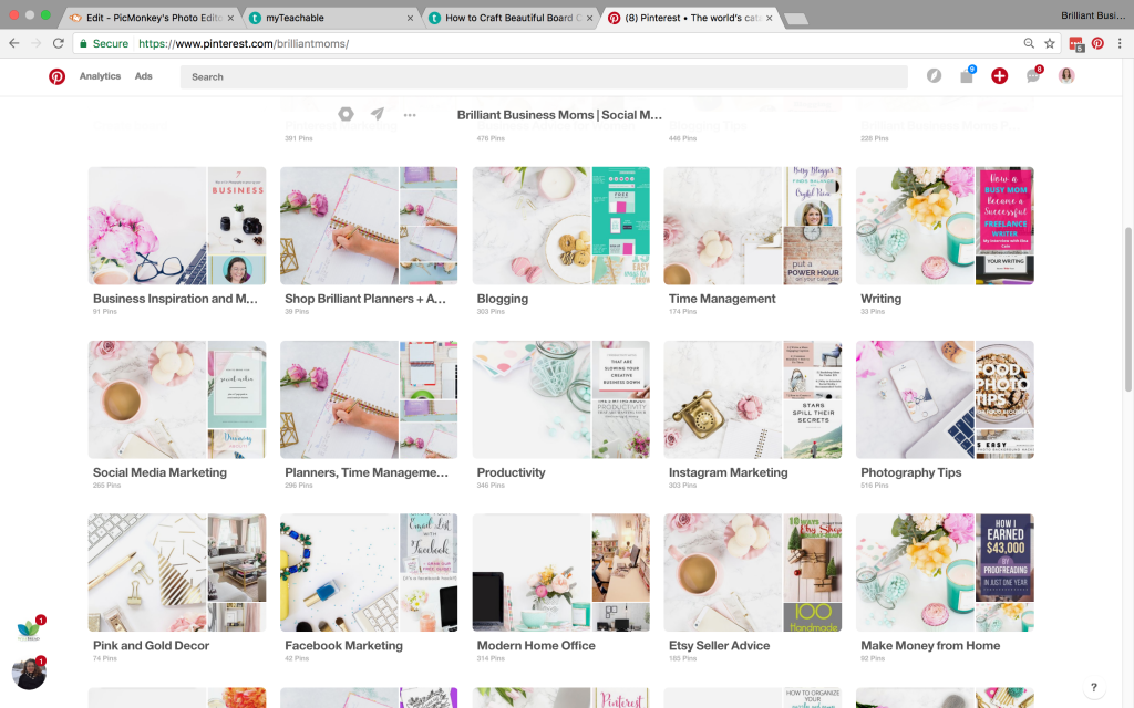 And here's how our Pinterest account appears after we made custom board covers