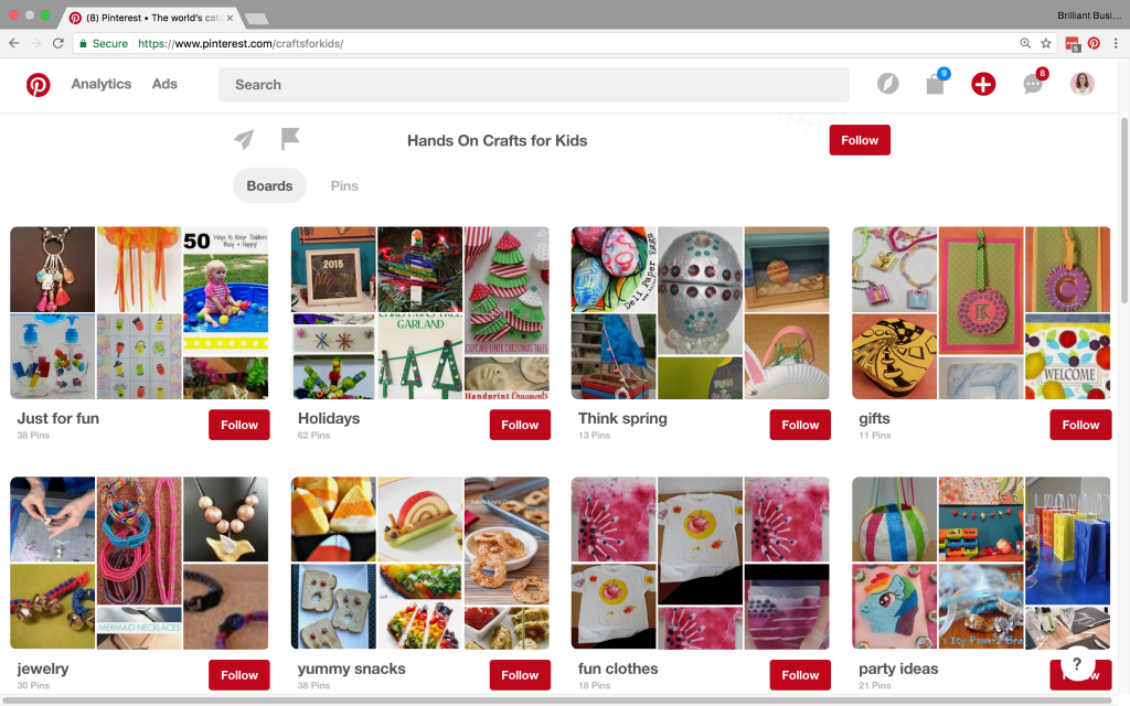 Fun Pinterest account, but no clear appearance.