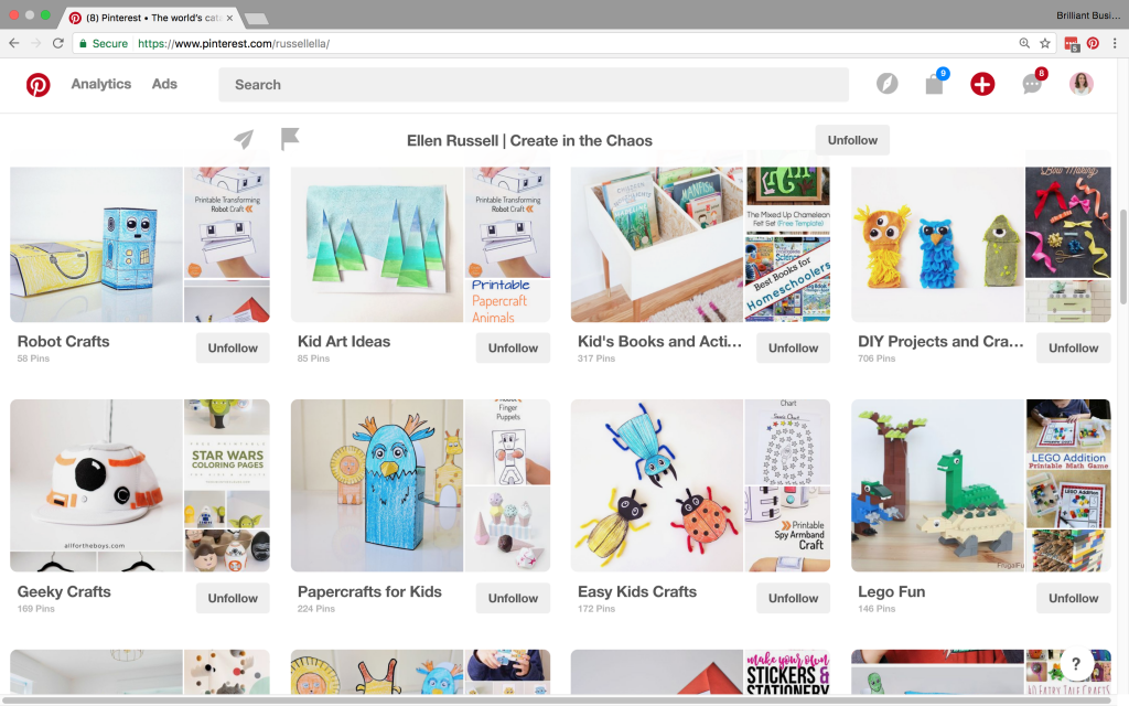 Darling board covers give this Pinterest account a cohesive look.