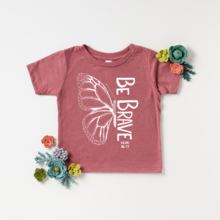 pink tshirt with words Be Brave and butterfly wing