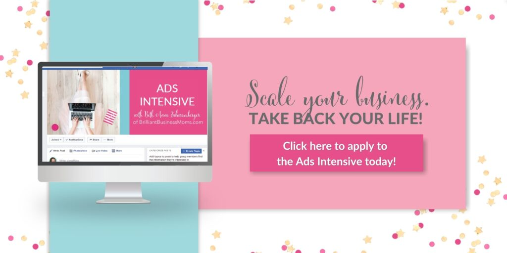 Advertisement for Brilliant Business Moms Facebook Ads Intensive course